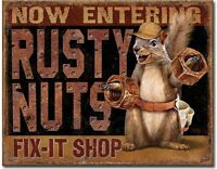 RUSTY NUTS Fix-It Shop Metal Tin Sign Garage Shop Home Wall Decor New