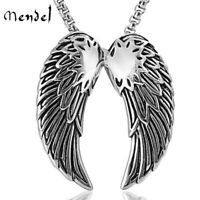 MENDEL Mens Stainless Steel St Saint Michael Angel Wings Pendant Necklace Men