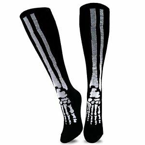 TeeHee Novelty Halloween Skeleton Fun Socks (10-13, Knee High)