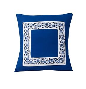 Blue White Cushion Cover Embroidered Cotton  Square Pillowcase Cover Slips