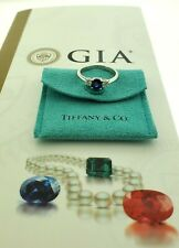 Tiffany & Co. Vivid Blue Sapphire Platinum 3 Stone Diamond Ring GIA Rare 6.5us
