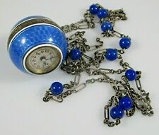 Pendant Watch Enamel Guilloche Sterling Silver Hallmarked Runs 935 Silver