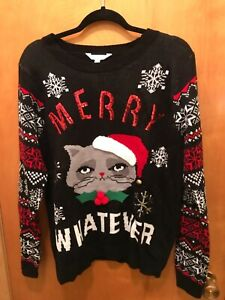 "NWT No Boundaries ""Merry Whatever"" Grumpy Cat Christmas Holiday Sweater XXL Cute"