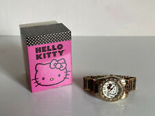 NEW! SANRIO HELLO KITTY GOLD-TONE CRYSTALS LEOPARD BRACELET WATCH HKAQ2430 $65