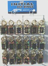 New Reflective Initial Key Rings Chains 216 Pieces w/Display Rack USA Made