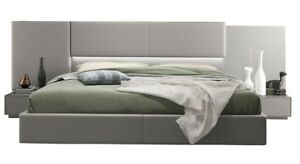 Calabria Modern Bed with Lighting & 2 Nightstands