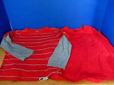 BABY GAP~Lot of 2 LONG SLEEVE Tee T-SHIRTS~Red Gray Striped & Red~Boys Size 4