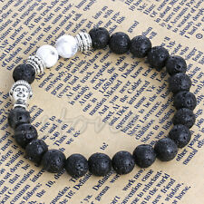 8mm Beads Men's Bracelet Black Lava Rock and White Turquoise Stone Buddha Head