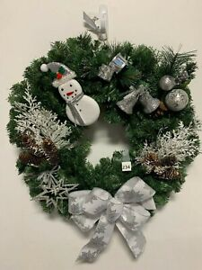 "Holiday Green White Christmas Snowman Bulbs Bells Ornament Wreath 23"" Artificial"