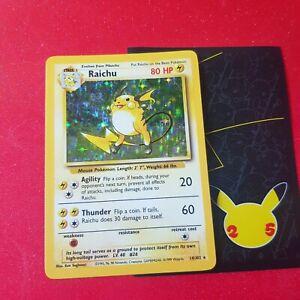 1999 Pokemon cards wotc Base Set Raichu 14/102 Rare Holo Card NM