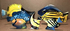 Painted Carved Wooden Tropical Fish Philippines Set Of 7 Vintage Wooden Fish