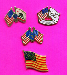 1984 LA OLYMPIC USA FLAG PINS 4 PIN LOT MIXED USA FLAGS OLYMPIC FLAGS 1976 FLAGS