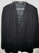 Mens Black Pinstriped JOSEPH ABBOUD Lined Wool Suit 44 Long