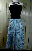 Jones New York Signature Womens 6 Skirt Pale Blue Print A Line Cotton Lined