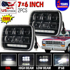2x 5x7 7x6 Rectangular LED Headlights with DRL Replacement HID Xenon Assembly