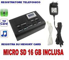 **REGISTRATORE TELEFONICO DIGITALE SCHEDA SD 16GB INCLUSA. MICROSPIA SPIA CIMICE