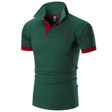 NEU Herren Polo Hemd kurzärmeliges TOP DESIGNER Unifarben T-Shirt Pferd Golf