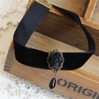 Gothic Retro Vintage Black Velvet Rose Charm Pendant Choker Necklace Jewelry TH