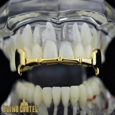 Fang Grillz 14k Gold Plated Upper Top Half Teeth Slim Fangs Vampire K9 Grills