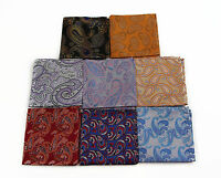 100% SILK MENS PAISLEY DESIGN POCKET SQUARE HANKY HANDKERCHIEF + BLACK BOW TIE