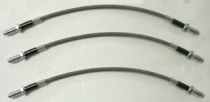 (x3) FORD Escort Mk1 (1100,1300,GT) BRAIDED FRONT & REAR BRAKE HOSES PIPES 68-74