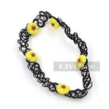 Daisy Flower Charms Tattoo Choker Plastic Stretch Elastic 90S Chocker Necklace