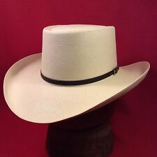 Cream Resistol 6X Western Gambler Straw Hat with Black Leather Band --Size 6 3/4
