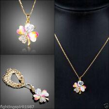 Modeschmuck-Halsketten & -Anhänger aus Metall-Legierung mit Kristall Glück