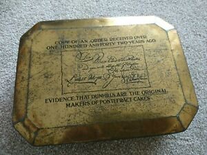 Large Vintage Dunhills Pontefract Cakes Tin Size 26x20x7cm Rare collectable tin