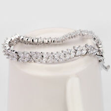 3.00 Carat Round Cut Shiny Diamond Tennis Bracelet 18K White Gold Toned