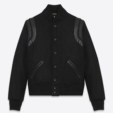 NEW $2550 2018 Black SAINT LAURENT VARSITY Jacket Black Virgin Wool Teddy 52 42