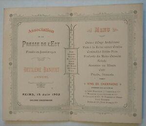 Menu Art Nouveau Belle Époque livret Presse de l'Est Champagne 15.06.1912