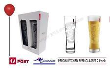 Peroni AZZURRO NASTRO Beer Chalice Glasses 2 Pack 350ml BWOB Italy Man Cave