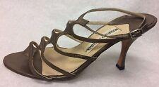 5ca3b334a833a Manolo Blahnik Gold Leather Strappy Heel Sandal Size 36/6