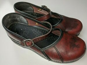 Dansko Women's Mary Jane Clogs Comfort Shoes Burgundy Leather Size 37 US 6.5 - 7