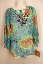 ELLEN TRACY New Size M Multi-Color Peasant  Sequins Paisley Top NWT
