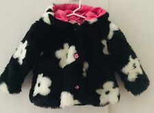 CachCach Baby 24 month Faux Fur Trendy Black & White Hooded Swing Coat Euc
