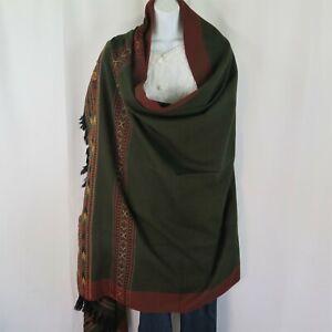 Kullu Design   Shawl/Throw  Hand Loomed  Yak+Sheep Wool Blend  Emerald Green
