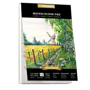 Watercolour Paper Pad A5 *30 Sheets 230GSM for Watercolour Painting PENCILMARCH