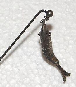 Hennegen, Bates Sterling articulated fish stick pin antique w original box