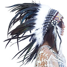 Feather Headdress- Native American Indian Inspired -ADJUSTABLE- Black Rooster