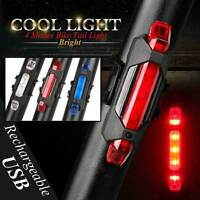 5LED USB Rechargeable Bicycle Safety Cycling Warning Rear Lamp Bike Tail Light m