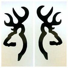 2 NEW BLACK BROWNING DEER BUCK DOE DECAL STICKER LOGO EMBLEM BOW RIFLE SHOOTING