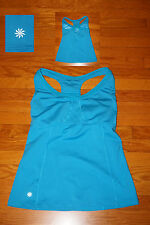 Athleta VA VA Fitted Tank Top Racerback Blue With SUPPORT BRA Yoga Run 34 DD