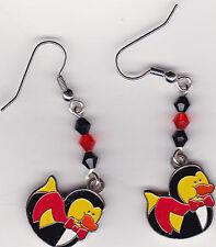 Halloween Earrings -Vampire Dracula Rubber Ducks beaded with Swarovski Beads
