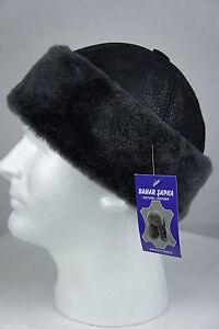 Black 100% Sheepskin Shearling Leather Fur Beanie Round Bucket Hat Winter S-3XL