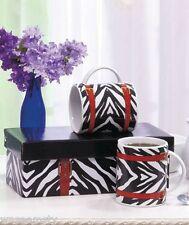 2 Purse Handbag Fashion Coffee Tea Mug Wild Black White Zebra Animal Print Set