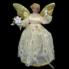 PORCELAIN ANGEL CHRISTMAS TREE TOPPER with LIGHTS / WHITE LACE & GOLD ACCENTS
