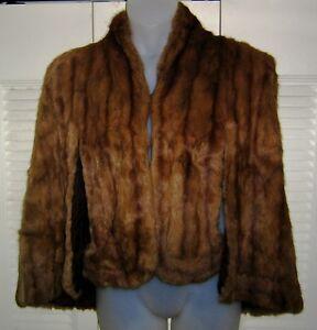 Vtg 1940s Kindig AUTUMN HAZE Genuine MINK Fur Strong Shoulder CAPE CAPELET Stole
