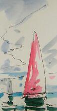 JOSE TRUJILLO ORIGINAL Watercolor Painting SIGNED Small 3x6 Sailboat Nautical
